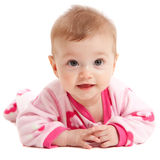 behandla som ett barn lyckligt isolerat rosa slitage för flicka Arkivbilder