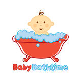 Behandla som ett barn mallen för badtidlogoen, behandla som ett barn badninglogoen, baby shower Arkivbilder