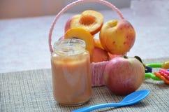 Behandla som ett barn mat, behandla som ett barn frukt som mosas i en glass krus, persikan, härliga persikor i en korg, leksak fö Royaltyfri Fotografi