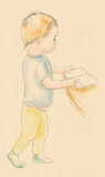 Behandla som ett barn med en bok Royaltyfria Foton