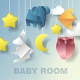 Behandla som ett barn mobil rumgarnering Baby showerinbjudan Papper klippt ut illustration Arkivfoton