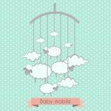 Behandla som ett barn mobilen med små lamm och moln royaltyfri illustrationer