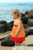 behandla som ett barn nära havet Arkivbild