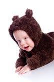 behandla som ett barn nallen för björnbarndräkten arkivbilder