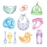 Behandla som ett barn nyfödda kläder i handen dragen stil Vektorillus Arkivbilder