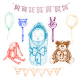 Behandla som ett barn nyfödda leksaker i handen dragen stil Vektorillustrat Arkivfoton