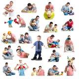 Behandla som ett barn och lurar collage med farsor Faderskap och faderskap lurar Arkivbilder
