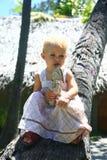 Behandla som ett barn på en palmträd Fotografering för Bildbyråer