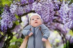 Behandla som ett barn på naturen på trädgården Arkivfoton