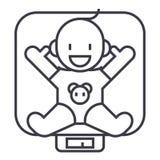 Behandla som ett barn på vågvektorlinjen symbolen, tecknet, illustration på bakgrund, redigerbara slaglängder vektor illustrationer
