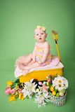 Behandla som ett barn påskdräkten, med ägg och blommor Arkivfoton