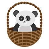Behandla som ett barn Panda Basket Vector Illustration Arkivfoton
