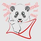 Behandla som ett barn pandabrevbärarevektorn Royaltyfria Foton