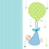 Behandla som ett barn pojkeankomstkortet med ballonghälsningvektorn Arkivbilder