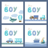 Behandla som ett barn pojkeduschkort stock illustrationer