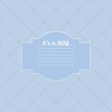 Behandla som ett barn pojkeduschkortet Ankomstkort med stället för din text Arkivfoto