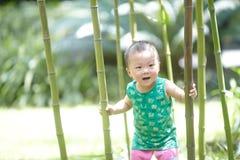 Behandla som ett barn pojkeklättringträdet arkivbild
