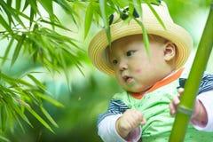 Behandla som ett barn pojkelek i bambuskog arkivbilder