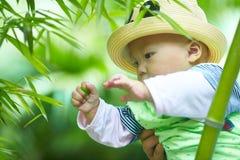 Behandla som ett barn pojkelek i bambuskog arkivbild