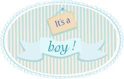 Behandla som ett barn pojkemeddelandekortet Royaltyfri Foto