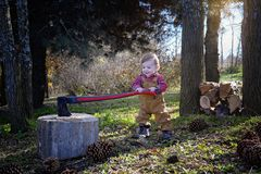 Behandla som ett barn pojken som hugger av trä Arkivbild