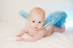 Behandla som ett barn pojken med blåa vingar på en vit bakgrund behandla som ett barn i formen Royaltyfri Foto