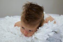 Behandla som ett barn pojken med mycket hår Arkivfoton