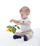 Behandla som ett barn pojken med solrosen Royaltyfri Fotografi