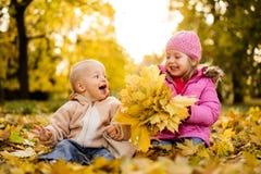Behandla som ett barn pojken som har gyckel i hösten, parkerar med hennes syster arkivfoto