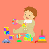 Behandla som ett barn pojken som spelar med hans leksakvektor stock illustrationer