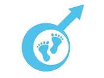 Behandla som ett barn det male symbolet och fotspåret för pojke Arkivbild