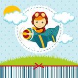 Behandla som ett barn pojkepiloten royaltyfri illustrationer
