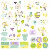 Behandla som ett barn pojkeurklippsbokuppsättningen Vektor Scrapbooking dekorativa element royaltyfri illustrationer