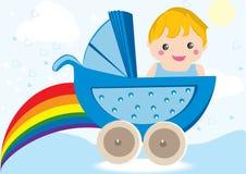 behandla som ett barn pojkevagnsstrolleren Arkivbild