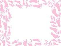 Behandla som ett barn rosa fotspårbakgrund 库存图片