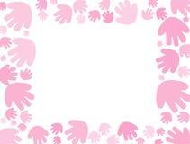 Behandla som ett barn rosa handprintbakgrund 库存照片