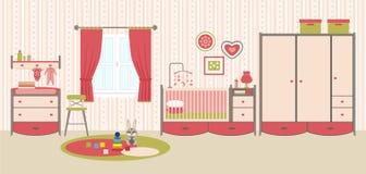 Behandla som ett barn rum med möblemang Royaltyfri Illustrationer