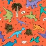 Behandla som ett barn sömlös bakgrund med dinosaurier Royaltyfri Fotografi