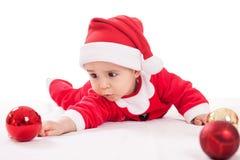 Behandla som ett barn Santa Claus med lyktor Arkivbilder