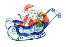Behandla som ett barn Santa Claus sammanträde i släde med gåvor för hälsningkort vektor illustrationer