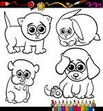 Behandla som ett barn sidan för färgläggning för husdjurtecknad filmuppsättningen Royaltyfri Bild