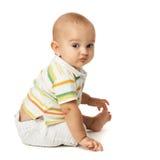 behandla som ett barn sittande white för bakgrund Fotografering för Bildbyråer