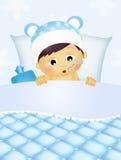 Behandla som ett barn sjukt i sängen stock illustrationer