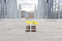 Behandla som ett barn skor med gula blommor Fotografering för Bildbyråer