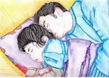 behandla som ett barn som att sova Arkivbild