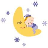 Behandla som ett barn som sover med månen Arkivbild