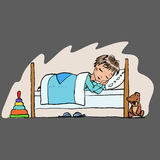 behandla som ett barn sova symbolen, lite pojken i sängfunktionsläget, nattens sömn Royaltyfria Foton