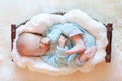 Behandla som ett barn sovande i korg på den mjuka vita filten Arkivfoton