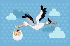 behandla som ett barn storken för pojkeleveransflyget Arkivbild