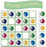 Behandla som ett barn Sudoku med färgrika billiardbollar stock illustrationer